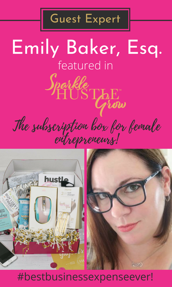 Sparkle Hustle Grow is the premier subscription box for female entrepreneurs looks to grow their business or rock their side hustle! Our previous box featured an online business training with Attorney Emily Baker. Click here to read her journey to becoming a consultant and female business owner. #girlboss #femaleentrepreneur #businessowner